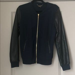 Juicy Couture Leather and cotton letterman jacket